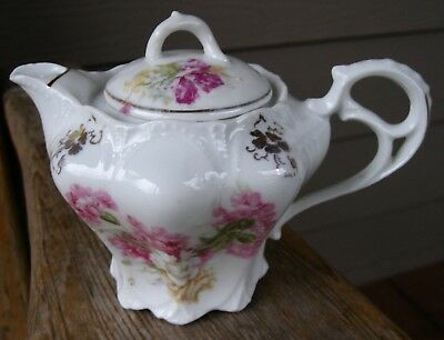 Antique Porcelain/China Syrup Pitcher Germany Vintage Pink Flowers Unmarked RS?