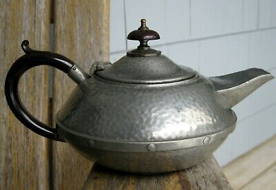 Antique Arts & Crafts Sheffield Craftsman Pewter Teapot Hand Hammered Vintage