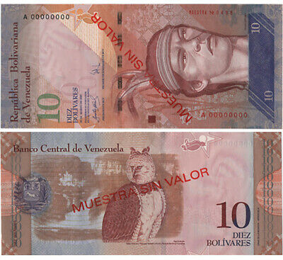 Venezuela 10 Bolivares Fuertes Specimen Series A 2007***One Piece***Uncirculated