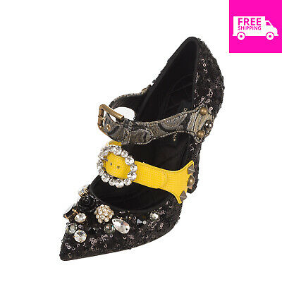 140206ee4dd87 RRP €790 DOLCE & GABBANA Mary Jane Shoes Size 36 UK 3 US 6 Leather Lining  Sequin