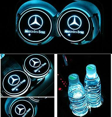 2× LED Car Cup Holder Pad Mat Auto Atmosphere Light Colorful For Mercedes-Benz