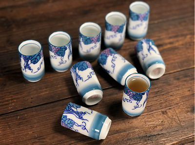 5 Pairs Marked Old Collect Chinese Color Porcelain Grape Leaf Wine Tea Cup Sets