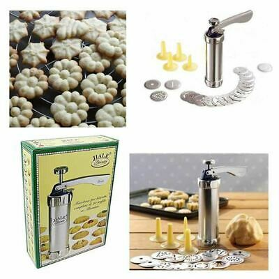 New 20 Pcs Stainless Steel Baking Cookie Press Pump Machine Biscuit Maker Stamp