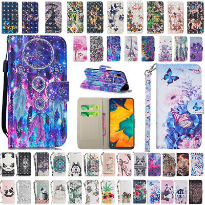 Galaxy A20/A30/A50/A70 For Samsung Hot Patterned Flip Leather Wallet Case Cover