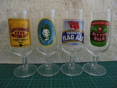 Beer Glasses Lot of x 4 Tooheys / Cascade / Southwalk / XXXX Collectable Beer