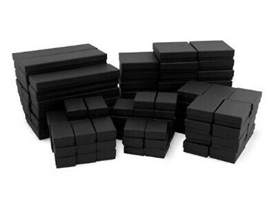 100 Assorted Mix Sizes Black Matte Cotton Fill Jewelry Packaging Gift  Boxes