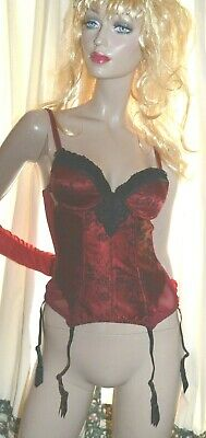 Vintage 1970's Red 6 strap suspender powermesh basque uk 8-10