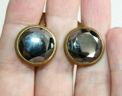 VINTAGE ART DECO to 1950s LARGE FACETED MARCASITE GILT METAL CUFFLINKS