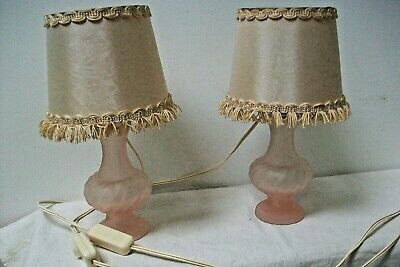 Vintage French table lamps pink opaque glass with shades L17 Pair