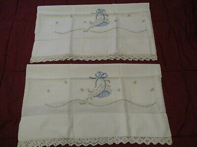 Pair of Vintage Pillowcases With Pretty Hand Embroidered Baskets & Crochet Edge