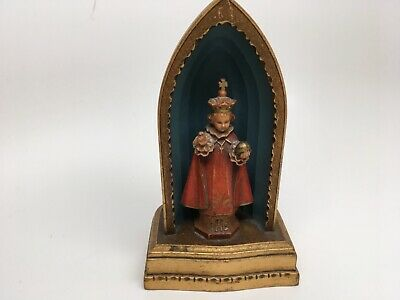 Vintage Wood Look Resin INFANT OF PRAGUE Figurine in Niche