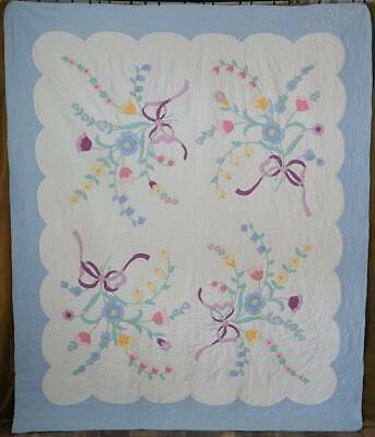 Cottage Perfect! VIntage Blue & White Brides Bouquet Applique QUILT 91x76""
