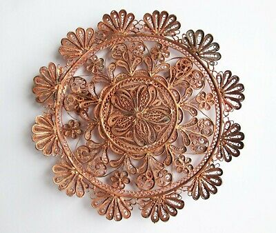 Vintage Hand Made Copper Filigree Sunflower Wall Hanging Art Plate Home Décor