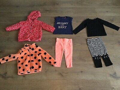 Baby Girls Bundle 12-18 Months Quilted Jacket Leggings Tops A119