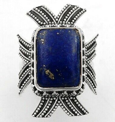 Rough Gem Art Gold In Lapis Lazuli 925 Sterling Silver Ring Jewelry Sz 6.5 C18-3