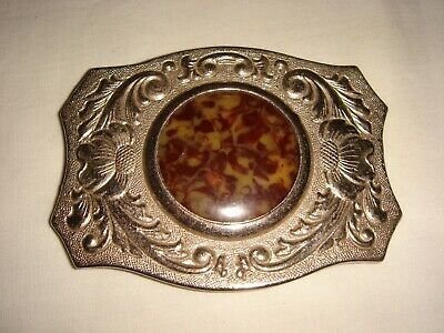 "Vintage Chambers ""Hideaway"" Belt Buckle - Coin / Stone Holder with Horse Etching"