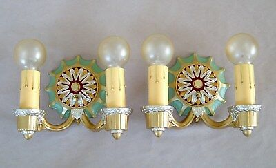 PAIR OF MARKEL ART DECO CAST IRON WALL SCONCES Circa 1930 RESTORED