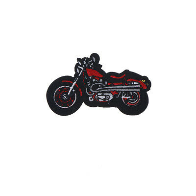 1X Cartoon Motorcycle Embroidered Iron On Patch Applique For Clothing Jacket QY
