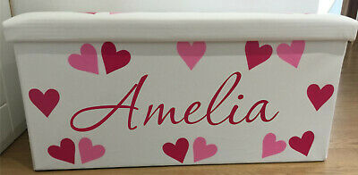 Personalised Toy Box Kids Stars Hearts Girls Boys Bedroom Storage Chest
