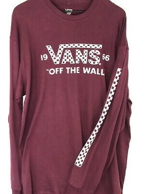 ae0f276a906e Vans Off The Wall Long Sleeve Checker Logo red Long Sleeve Burgundy T Shirt