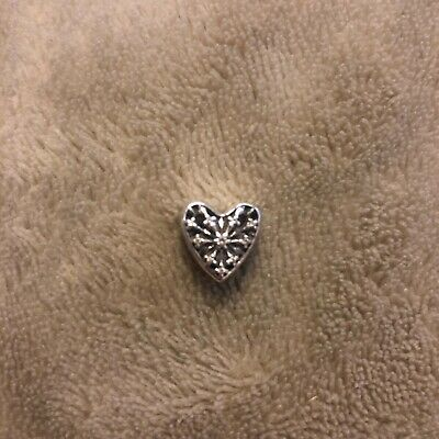 5c8516e3b GENUINE PANDORA SILVER Frosted Heart Of Winter Snowflake Charm ...