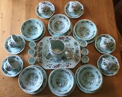 Adams Ming Jade Breakfast Set For 6 Duck Egg Blue Eggcups Trios Cereal Bowls Etc