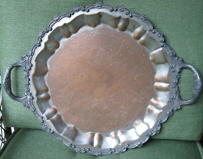 """18"""" Antique Copper Farmhouse Tray Vintage Shabby Chic Rustic Patina WEATHERED"""