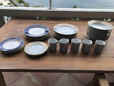 37 Pc Tiffany Manhatten Blue & Royal Worcester Ventura Cobalt China