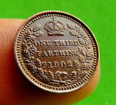 LUSTRED  GEF/UNC  1902  THIRD  FARTHING  1/3rd  of  a  1/4d....LUCIDO_8  COINS