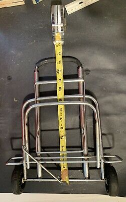 Vintage Collapsible Luggage Cart Metal Travel Suitcase Caddy Roller Wheels