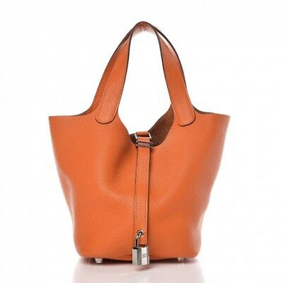 2a60313bb7f Hermes Picotin PM 18cm Clemence Orange Leather Tote Hand Bag 100% Authentic  New