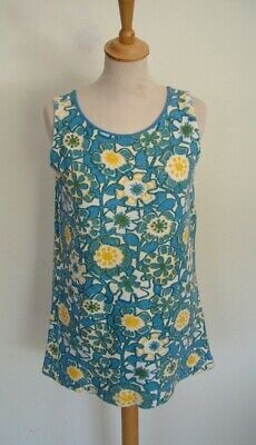 Vintage 60s Roxburgh girls' floral terry towelling vest tunic top dress, S