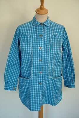 Vintage 50s Guy French blue checked cotton workwear chore smock blouse shirt, S