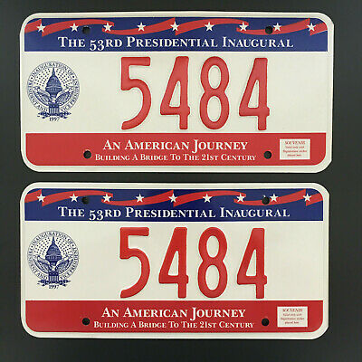 1997 TWO Unused 53rd Inaugural License Plates 5484 William Bill Clinton 2nd Term