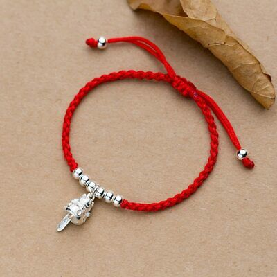 Real 925 Sterling Silver Lucky Cat Red Bracelet For Women  Bangle Wax String