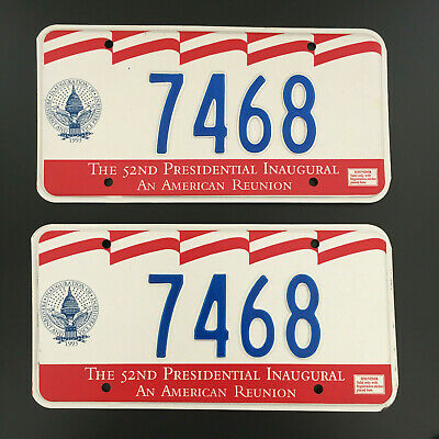 1993 TWO Unused 52nd Inaugural License Plates 7468 William Bill Clinton 1st Term