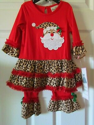 NWT Rare Editions Adorable Red Santa Christmas Dress Leggings Size 18 Months