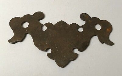 Antique Solid Brass 18th Century Georgian Drawer Handle Backing Plate 17th 19th