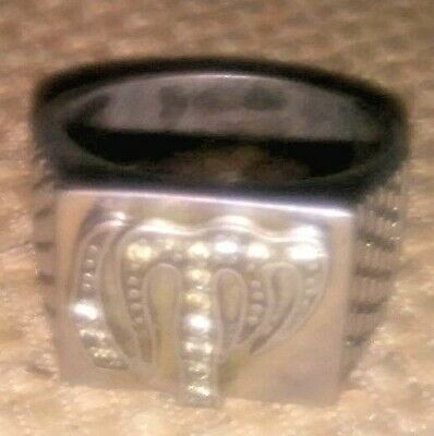 VINTAGE Men's Muslim Ring size 11 silver with CZ stones