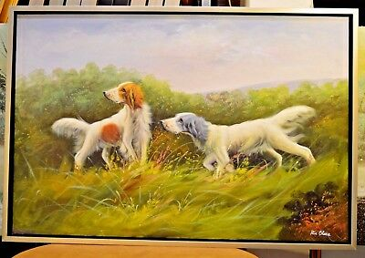 Hunting Dog Pointer Searching Wild Prey Oil Painting Office Home Decor Art 109