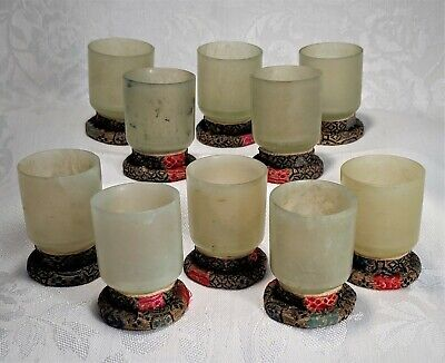 Ten Antique Asian Hand Carved Translucent Light Green Celadon Jade Tea Cups