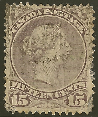 Canada 29 used 15c gray violet Large Queen - Cat $65.00