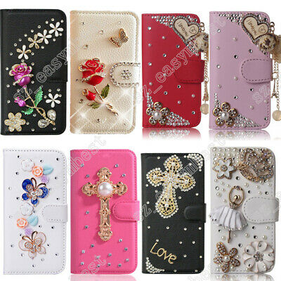 Flip Case Bling Slim Stand Wallet Cover PU Leather 3D Diamond Sleeve for Girls