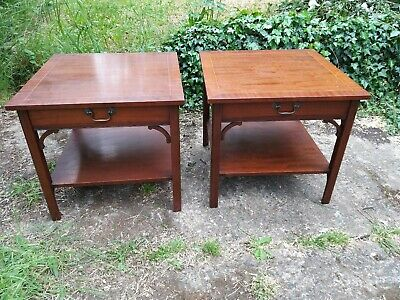 Antique Reproduction Pair Mahogany Lamp Tables Bedside Tables - Local Delivery