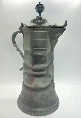 Antique German Heavy Pewter Arts & Crafts Flagon Bullet Hole/Musket Shot Repair