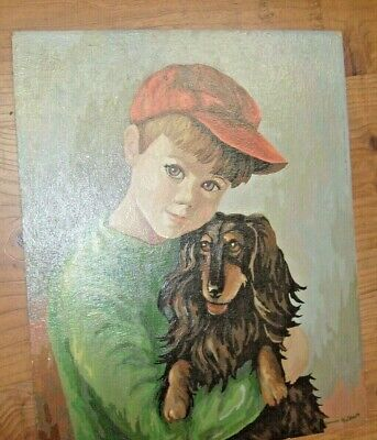 1950's  Vintage Paint By Number ? Boy with Dog Painting - James Gilbert