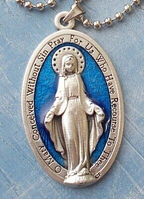 "XL Miraculous Medal Blue Enamel 1 3/4"" Italy Pendant Necklace 24"" Ball Chain"