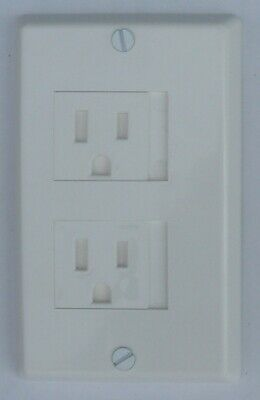 Twin Sliding Door Outlet Cover 2 Screw USA Decora White 6/bx