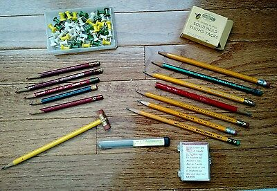 Vtg Lot Junk Office Supplies Pencils, Thumb Tacks,  Faber Lead, Day Brighteners