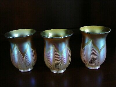 Set of 3 Vintage Quezal Art Glass Iridescent Pulled Feather Lamp Shades Signed